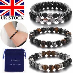 Obsidian Tiger Eye Hematite Bracelet Triple Protection Stone Bangle Women Men UK