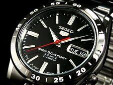 NEW MENS SEIKO 5 - 21 JEWEL ALL BLACK AUTOMATIC 50M ANALOG SPORTS WATCH SNKE03J1