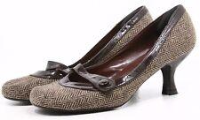 Steve Madden Vibe Pumps Shoes Womens 7 Brown Cream Herringbone Dress Heels Retro