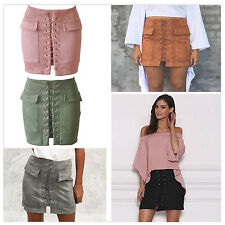 Fashion Women's Lace Up Pencil Casual Suede Pocket High Waist Mini Short Skirt