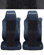 2 x VOLVO FH12 FH16 FL FM Coprisedili Fatti su misura Logo Camion Nera / DE LUX