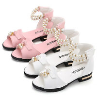 New Kids Girls Summer Casual Flowers Party Wedding Princess Sandals Dress Shoes
