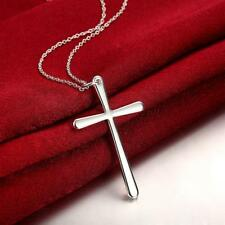 "Womens 925 Sterling Silver Religious Cross Pendant 18"" Chain Necklace #NE19"