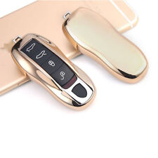 Gold TPU Soft Remote Key Fob Holder Cover For Porsche Cayenne Panamera Macan 911