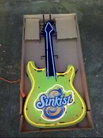 Sunkist Neon Orange Guitar Dr Pepper Man Cave Light Up Hanging Wall Coke PepsI