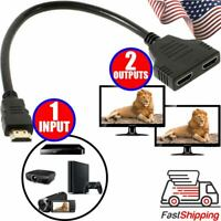 HDMI Splitter 1 Input Male to 2 Output Female Port Cable Adapter Converter 1080P
