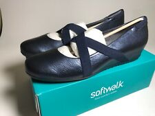 Softwalk Waverly Blue Metallic Mary Janes Slip on Comfort Shoes Size 12 N NIB