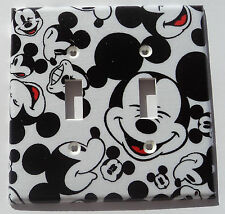 Mickey Mouse Faces Double Light Switch Plate Cover Kitchen Bathroom Wall Decor