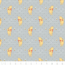 Winnie The Pooh Honeybee Light Grey Camelot 100% cotton fabric by the yard
