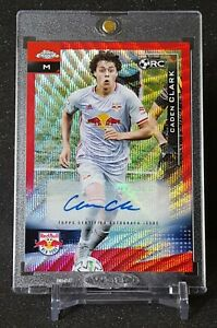 CADEN CLARK 2021 TOPPS CHROME MLS #115 RED WAVE REFRACTOR RC AUTO 2/5 NYRB