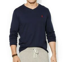 Men's Ralph Lauren T-Shirt Tee  V Neck Long Sleeve