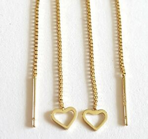 Stunning Solid 9ct Gold Thread Drop Dressy Straight Dangle Heart Earrings. 375