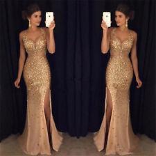Gold Perlen Abendkleider Sexy V-Ausschnitt Ballkleider Formelle Partykleider