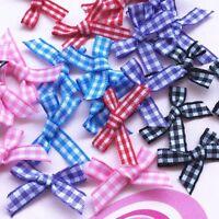 25-100Pcs lattice Satin Ribbon Flowers Bow Craft Wedding Decoration ornament