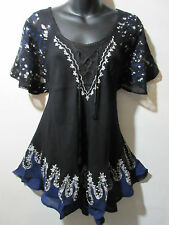 Top Fits XL 1X 2X 3X Plus Tunic Black Blue Batik Art A Shaped Lace Ties NWT G786