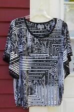 JM Collection NWOT Black/White Dolman Sleeve  Embellished Ruched Blouse Medium