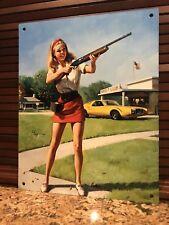 Pinup Pin Up Girl Shooting Ammunition Gun Vintage Style Metal Poster Sign 10x8