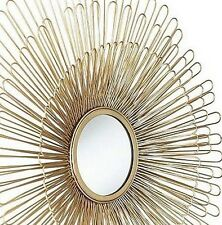 Grand miroir en métal doré forme soleil   vintage style des années 60   82 cm