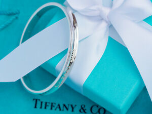 Tiffany & Co 1837 Sterling Silver Solid Oval Concave Size LARGE Bangle Bracelet