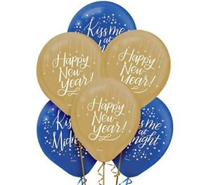 """NEW 15 Amscan Latex 12"""" Balloons Happy New Year Kiss Me at Midnight Blue & Gold"""