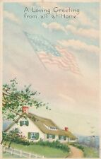 A Loving Greeting From All at Home Patriotic Postcard - 1919