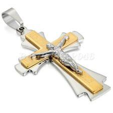 "Mens Jesus Crucifix Christian Prayer Cross Pendant Stainless Steel Necklace 22"""