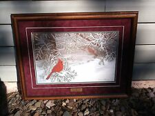"nef. Dianna Stamness ""Scarlet Suitor"" Signed/Numbered Print 663/700 Framed/Mated"