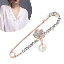 Gold Diamante Metal Pin Shawl Brooch Kilt Safety Pin Scarf Women Wedding Proms
