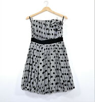 HHV 7TH SEVENTH VISION Size 10 Dress Grey Black Polka Dot Strapless EUC