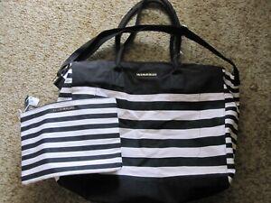 Victoria Secrets 2 Piece Weekender, Black and White Stripe
