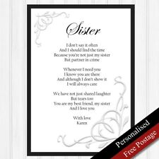Sister Gift. Personalised Birthday Gift for Sister. Keepsake Poem PRINT ONLY