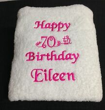 EMBROIDERED  BATH TOWEL  -  'HAPPY 50th/ 70th BIRTHDAY'
