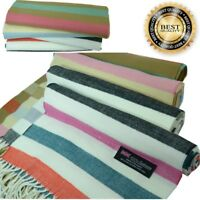 Men Women unisex 100% CASHMERE Warm PLAIN Scarf Horizontal Stripe Wool SCOTLAND