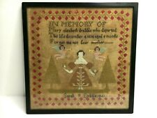 1840 Victorian Needlepoint Sampler by Mother in Memory of Her Departed Daughter