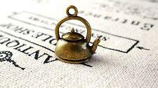 Kettle teapot 4 charms antique bronze vintage style pendant charm C165