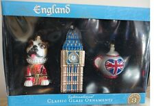 New -2013 World Market International Classic Glass Ornament - England - Set of 3
