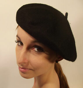 Brand New Ladies Womens Mens Unisex French Style Wool Beret Black One Size