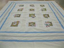 Patchwork Quilt Top Baby Child 57 In W x 69 In L Machine Pieced Blocks Mice