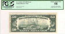 RARE RICHMOND E-A BLOCK 1974 FRN $50 FIFTY DOLLAR OFFSET ERROR CHOICE 58 PCGS