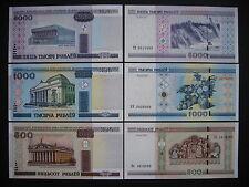 BELARUS  500 + 1000 + 5000 Rublei 2011  (P27b + P28b + P29b)  UNC