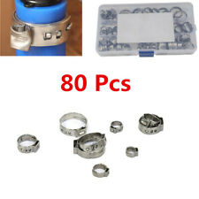 Adjustable Car Stainless Single Ear Hose Clamp O Type Clamp Assortment Kit 80Pcs