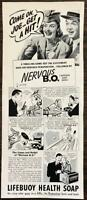 ORIGINAL 1940 Lifebuoy Health Soap Print Ad Nervous B.O.