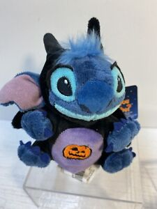 "Disney Store Lilo STITCH Halloween Vampire Bat mini 5"" beanbag plush Pumpkin"