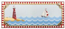 "EXTRA LONG KITCHEN RUG RUNNER (nonskid) (20"" x 48"") SAILBOAT & LIGHTHOUSE"