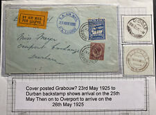 1925 Grabouw South Africa Early Airmail Flight cover To Durham