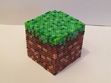 Minecraft Grass Block Bead Box, Piggy Bank, or Nightlight - video game inspired