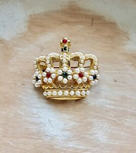 Vintage Gold Tone Royal Crown Brooch with Rhinestones & Faux Pearls