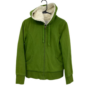 Old Navy Womens Large Green Sherpa Lined Full Zip Sweater Jacket Pockets Hood