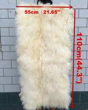 Real Mongolian Fur Throw Tibetan Lambskin Beige Snowtop Fur Rug Plate GenuineHid