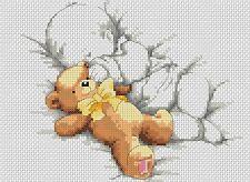 Sampler de Nacimiento Bebé y Teddy Amarillo Punto de Cruz Kit Completo #5-123